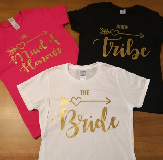 Bride tribe hen T-Shirts, hen tops, personalised T-Shirts, bride squad, bridesmaid gifts, bachelorette party, wedding, engagement gifts