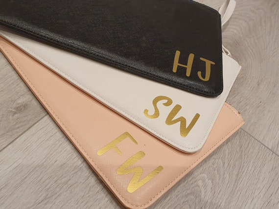 Personalised initial clutch bag, bridesmaid clutch bag, bridesmaid gift, personalized monogrammed bag, bridal pouch, bride clutch bag