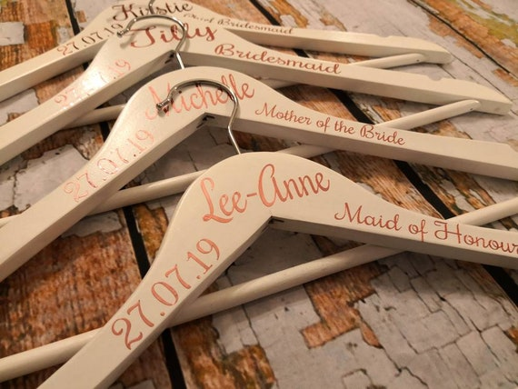wooden wedding hangers, bridal hangers, bridesmaid hangers, wedding dress hanger, bridesmaid gift, maid of honour gift, bridal party gifts