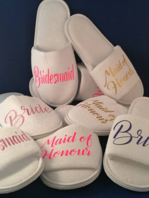 wedding Slippers, Bridal party gifts, Pack of 4 or more pairs, Spa Slippers, Personalised slippers, Bridesmaid Gifts, hen slippers