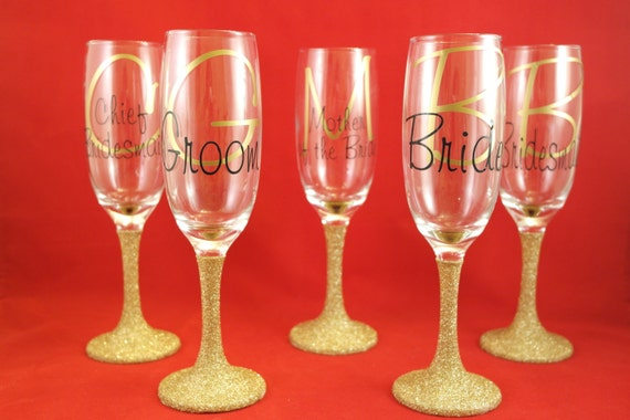 Wedding glitter glasses personalised text and colour, wedding glassware, first toast glasses, wedding gifts, wedding favours