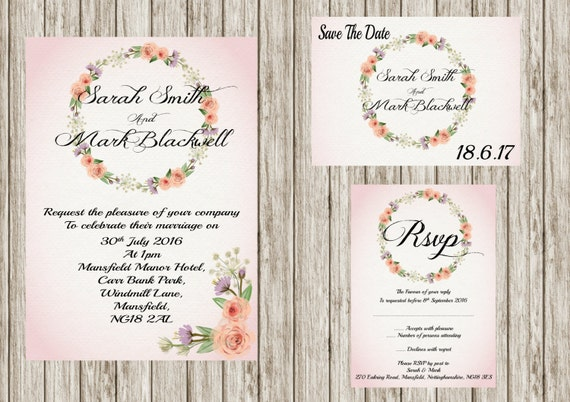 Floral wreath, Printable wedding invitation set, Floral wedding invites, save the date, Rsvp, print your own, DIY invitations,