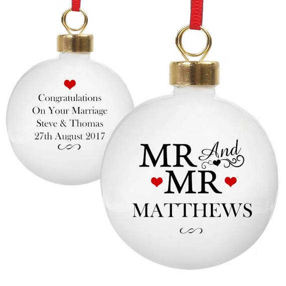 Mr and Mr Christmas decoration, personalised bauble, Gifts for them, tree decorations, first christmas as Mr & Mr