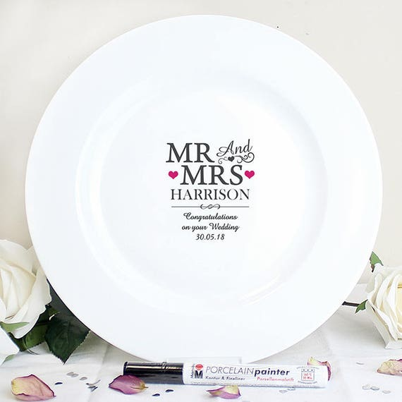 Personalised Guest book, ceramic signing plate, guest book alternative, Message Plate,  Mr and Mrs Gift, Engagement gift, ceramic plate