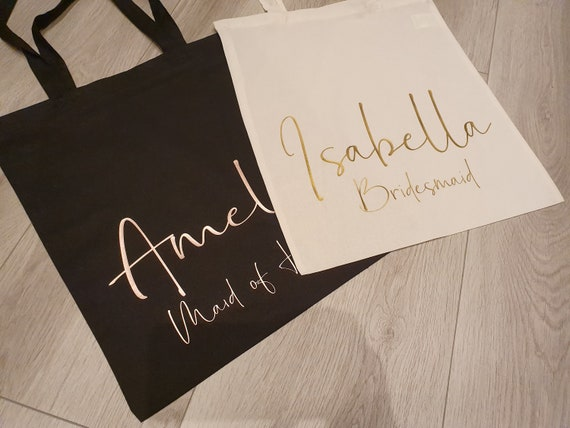 Rose gold Personalised bridesmaid Gift bag, Tote Bag, Hen party bags, Bridesmaid gift, Gift bags, shopper, Maid of Honor gifts,