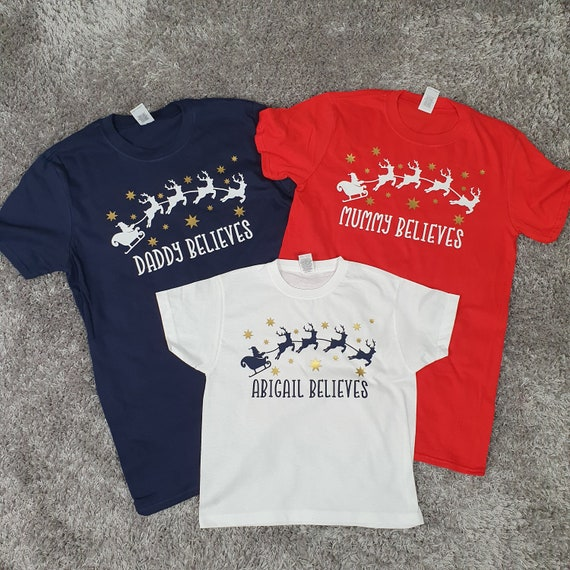 Matching Family Christmas eve t-shirts, Believe Christmas pyjamas, personalised Christmas t-shirts, Christmas eve box items
