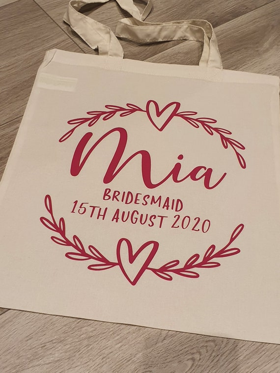bridesmaid gift bag, Personalised bridesmaid tote bag,  Maid of Honour gif, personalised gift bag, monogrammed bag, Bridal party gifts