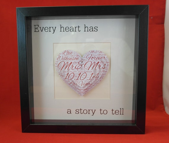 Personalised wedding gift, paper anniversary, 3d word art, Mr & Mrs, box frame, gifts for the couple, every heart has a story