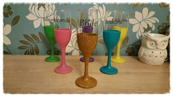 Wedding Glitter glasses personalised text and colour ideal for first toast, Champagne flutes