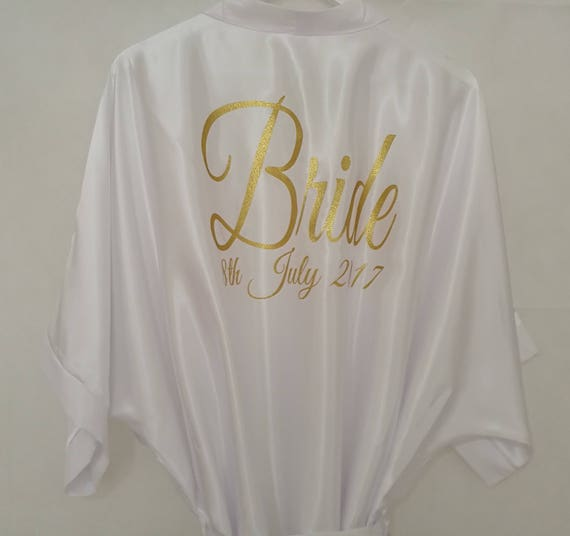 White Bridal Dressing Gown, Bridesmaid Gift, Hen Party Gift,  Wedding Dressing Gowns size 8 to 26