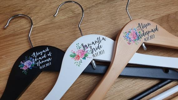 Floral personalised wedding hangers, Bridesmaid gifts, bridal hangers, Bridal robes, Maid of Honour gift. Flower girl, Wedding Coat Hangers