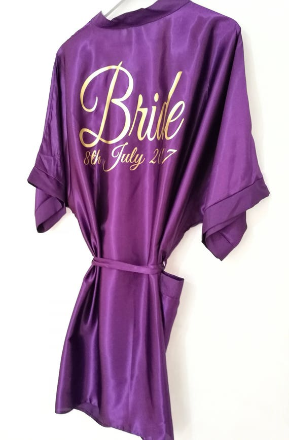 Purple Bridal Robe, Personalised Dressing Gown, Bridesmaid Gift, Hen Party Gift, Satin Robe, Wedding Dressing Gowns, size 8 to 26
