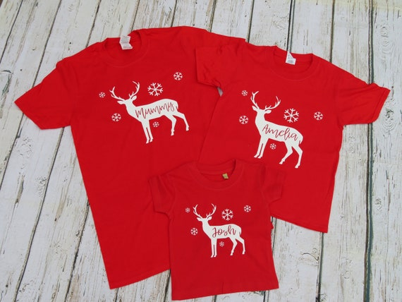 Family Christmas pyjamas, matching T-shirts, matching stag tops, Christmas pjs