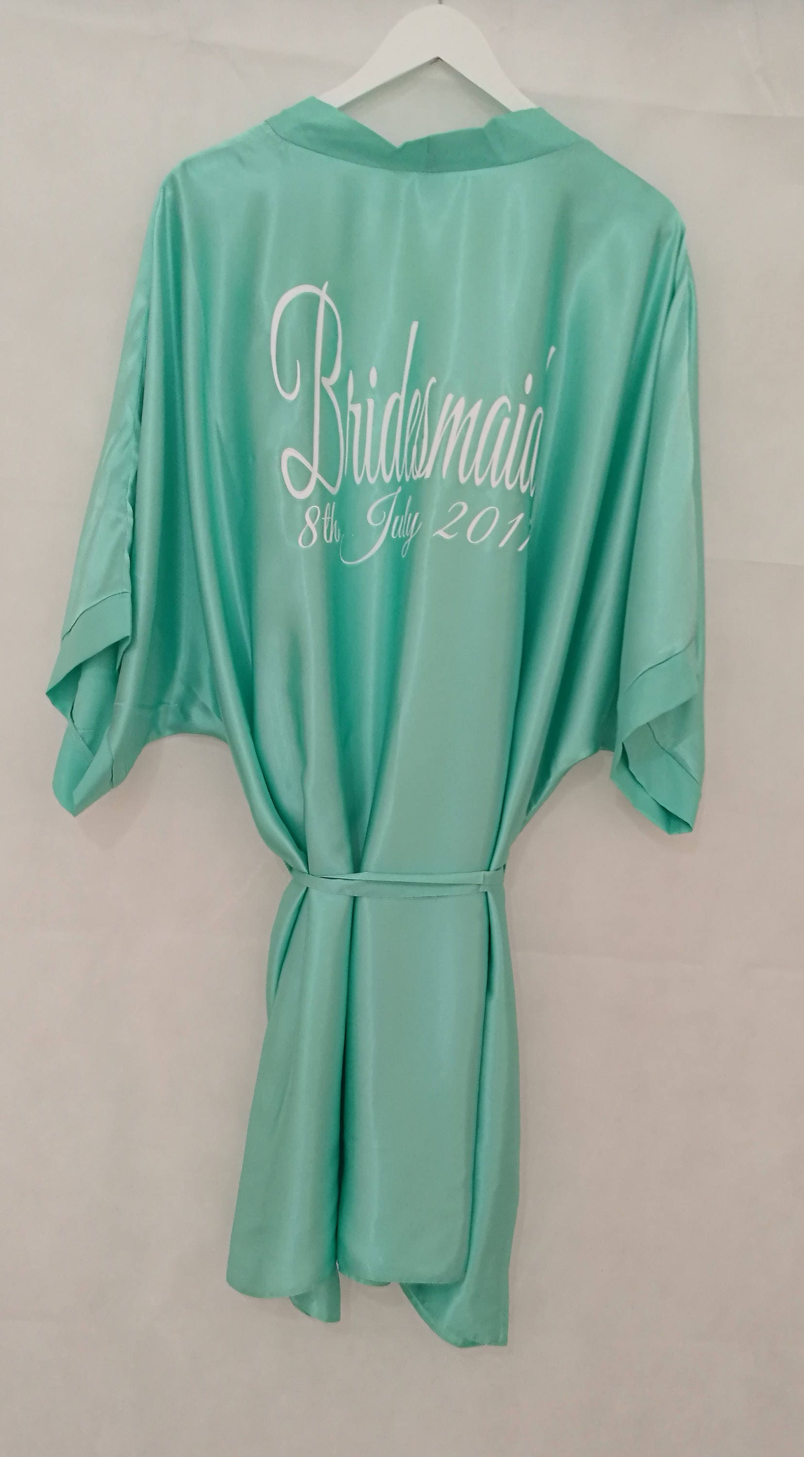 Mint Green Bridal Robe, Personalised Dressing Gown, Bridesmaid Gift,