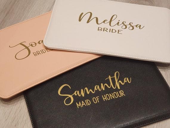 Personalised clutch bag, Bridesmaid pouch, Monogrammed bag, bridal bag, vegan leather bag, bridal bag, Hen Party gifts