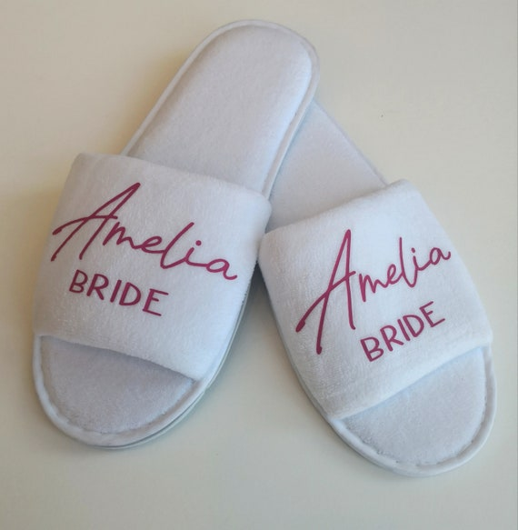Bridesmaid slippers, personalised wedding slippers, luxury open toe spa slippers, bridesmaid gifts, Hen party, bridal slippers, bachelorette