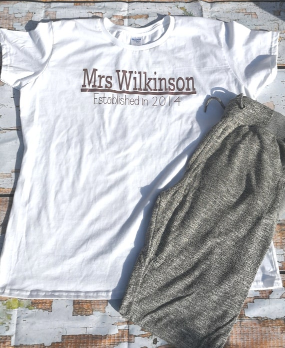 Personalised wifey pjs, newlywed gift, surname gifts, his and hers matching pjs, gifts for her, rose gold
