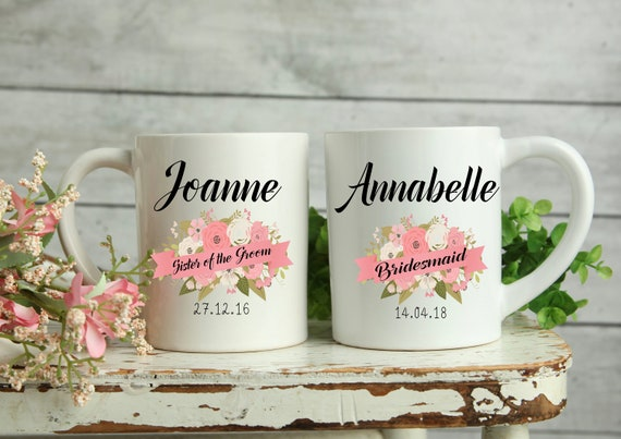 Personalised Wedding Mugs, Bridesmaid Mug, Maid of Honour Mug, Gifts