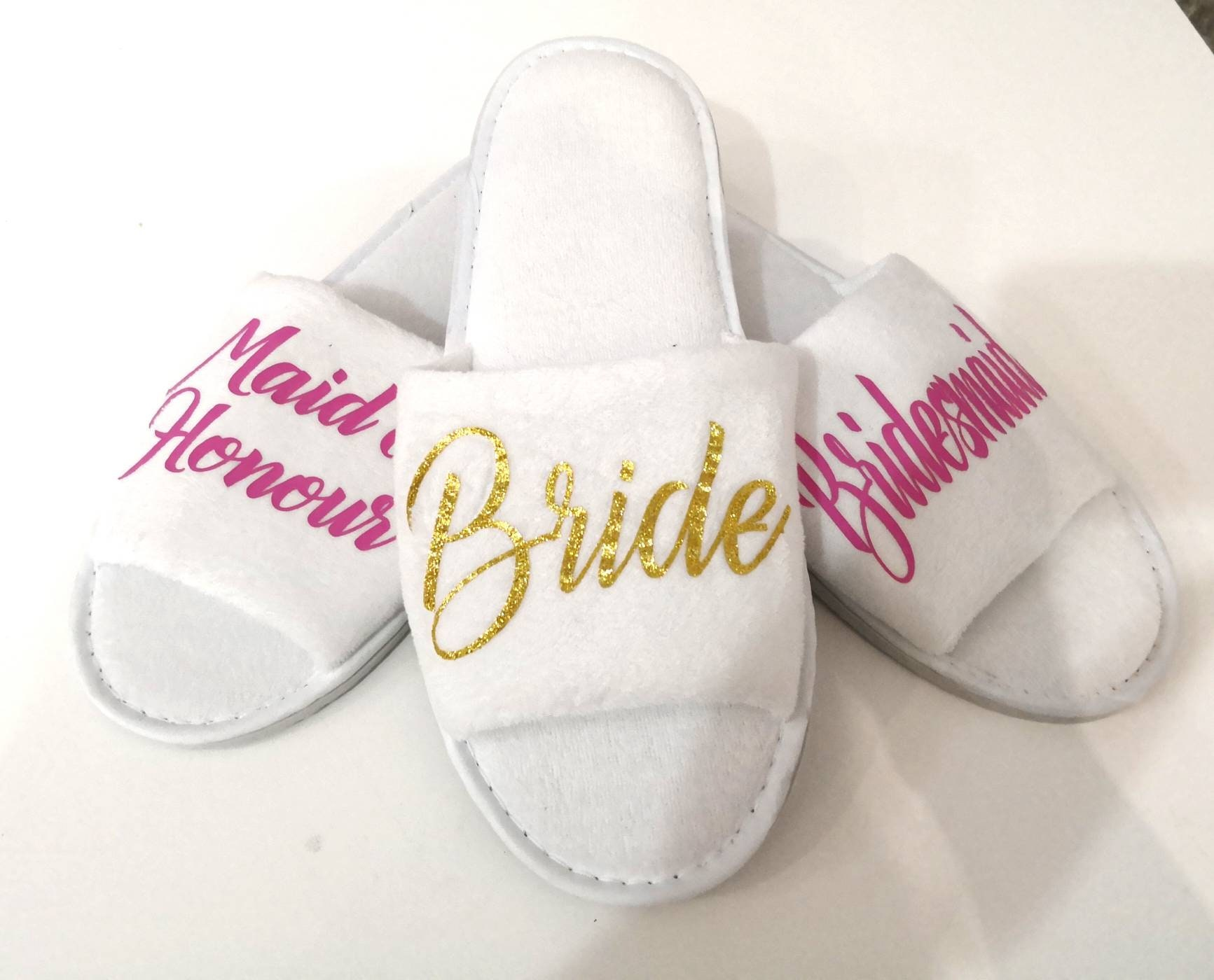 7f93ddc5d0f Personalised wedding Slippers, Bridal party gifts, Spa Slippers ...