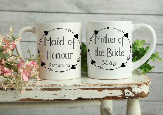 Personalised wedding Mug, Bridesmaid gifts, Bridal Party Mug, Maid of Honour Gifts