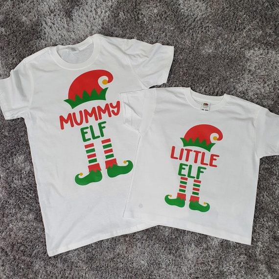 Christmas Elf t-shirts, Matching family t-shirts, Christmas Pyjamas, Personalised elf, Xmas tops, Mummy Elf, Daddy Elf