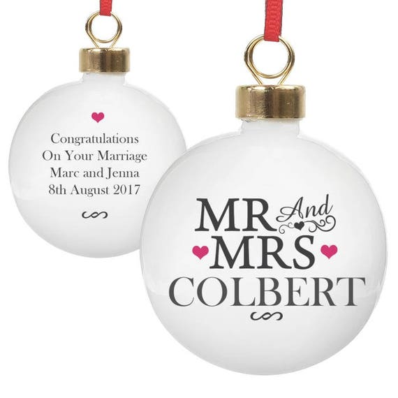 Mr and Mrs Christmas decoration, personalised bauble, Gifts for them, tree decorations, first Christmas as Mr & Mrs, gifts for them