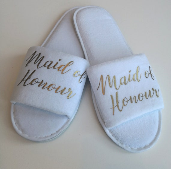 Bridesmaid slippers, wedding slippers,  luxury open toe spa slippers, bridesmaid gifts, Hen party, bridal slippers,Personalised