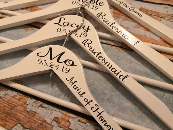 Wooden wedding dress hangers, bridesmaid gifts, dress hanger,  personalised bridal party gifts, bridesmaid hangers, maid of honour gift