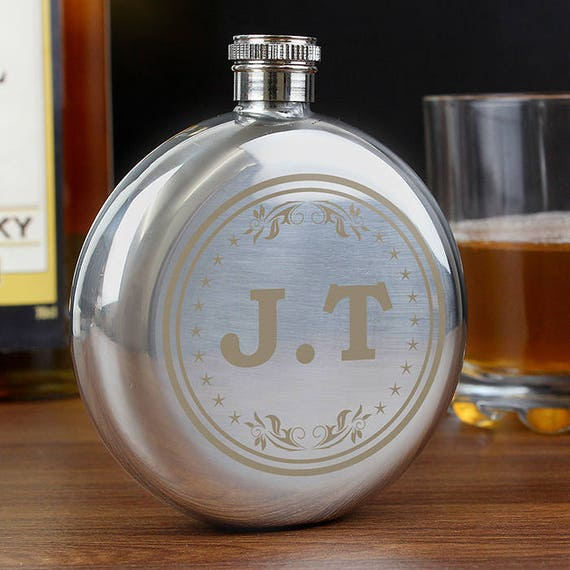 Personalised round hip flask, Monogrammed gifts, groomsman gifts, wedding hip flask, Personalised gifts, gifts for him, wedding gift