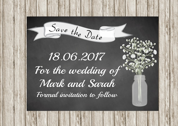 Chalk board save the date, Printable save the date, Rustic save the date, Mason  jar, DIY save the date, print your own