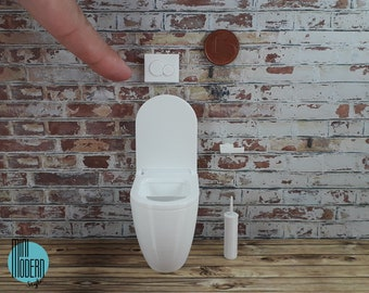 Drain plate with round buttons for modern miniature WC in colorful plastic 1:12 scale for doll houses