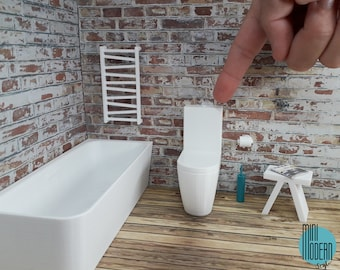 Modern monoblock floor standing toilet in 1:12 scale colorful plastic miniature for dollhouses