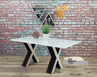 Tables with wooden legs X and opal white plexiglass top in 1:12 scale for dollhouses