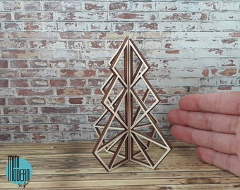 Modern wooden Christmas tree in 1:12 scale for dollhouses