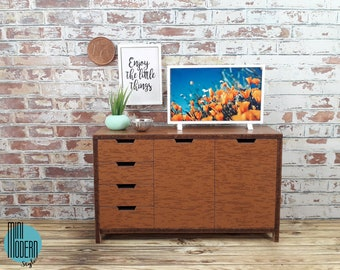 Modern cabinet with 2 doors and drawers in mdf coated 1:12 scale for dollhouses