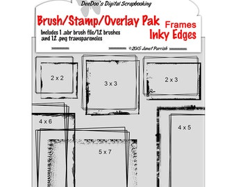 Digital Inky Edged Frames Brush Set, digital brushes & PNGs for digital stamps and overlays, grunge ink-INSTANT DOWNLOAD