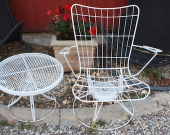 Midcentury Outdoor Chair and rotating side table / Homecrest  / Vintage Outdoor Furniture / 1960s / Swivel Chair / Vintage Furniture