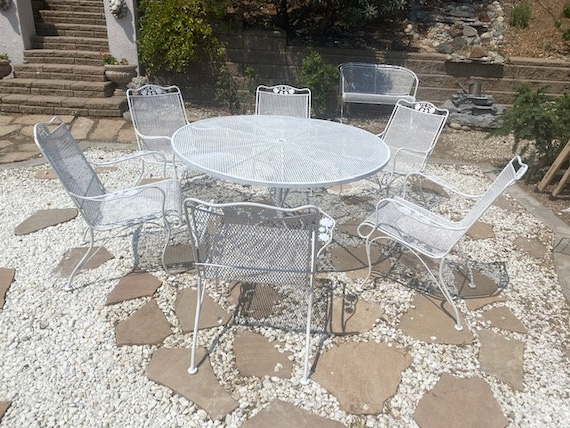 Wrought Iron Patio Table And 6 Chairs, Vintage Wrought Iron Patio Furniture Brands
