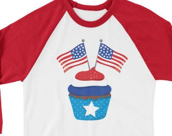 f0cfe577a3 Stars and Stripes Patriotic Cupcake Raglan Baseball T-Shirt Cute Fourth of  July Flag Tee Shirt 3/4 sleeve Kids Teen, Adult Sizes 6100