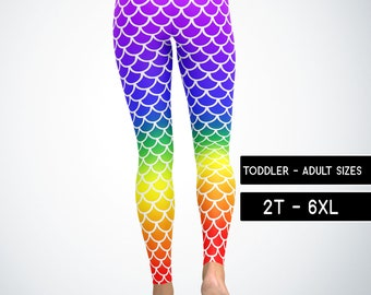 680644935a4e2d Rainbow Mermaid Scale Leggings Capris Yoga Pants Shorts, Kids Adult Plus  Size Mommy and Me Matching Dance Pants Cosplay Costume 5049