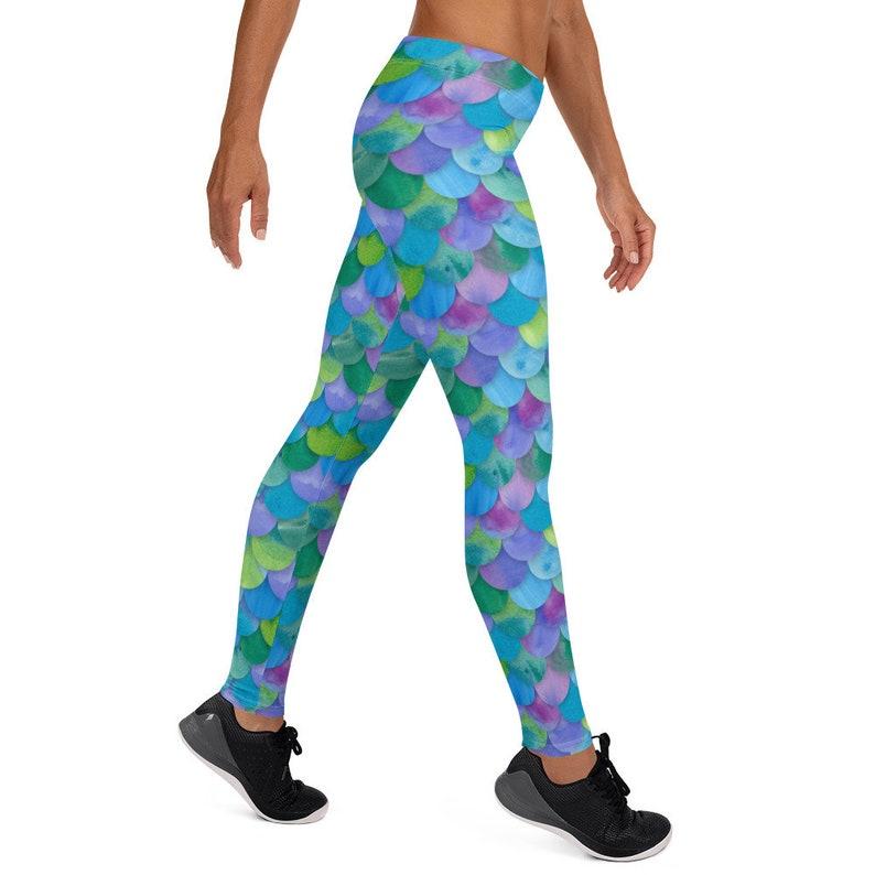Toddler Kids Mens Plus Size Cosplay Dance Ariel Halloween Running Costume 5183 Yoga Pants Capris Shorts Dragon Scale Mermaid Leggings