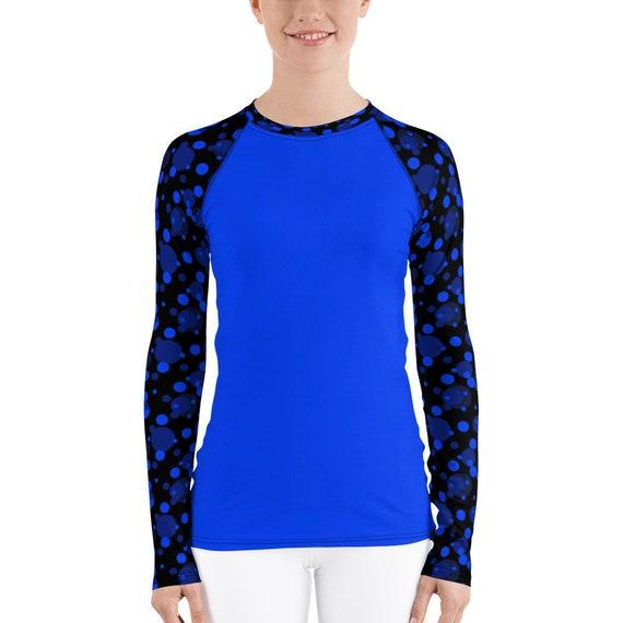 Blue Polka Dot Rash Guard, Swimming Shirt, Running Top, UV Protective, UPF Protection, Martial Arts Gear Long Sleeve Stretchy Beach Swim Tee