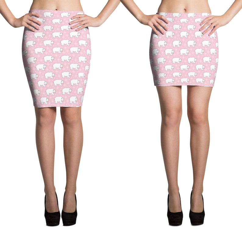 Fitted Skirt Pencil or Mini Stretchy printed knee length or shorter miniskirt Cute Pink Polar Bear Christmas Holiday bodycon 13018