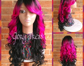 On Sale Long Wavy Lace Front Wig Ombre Lace Front Wig Etsy