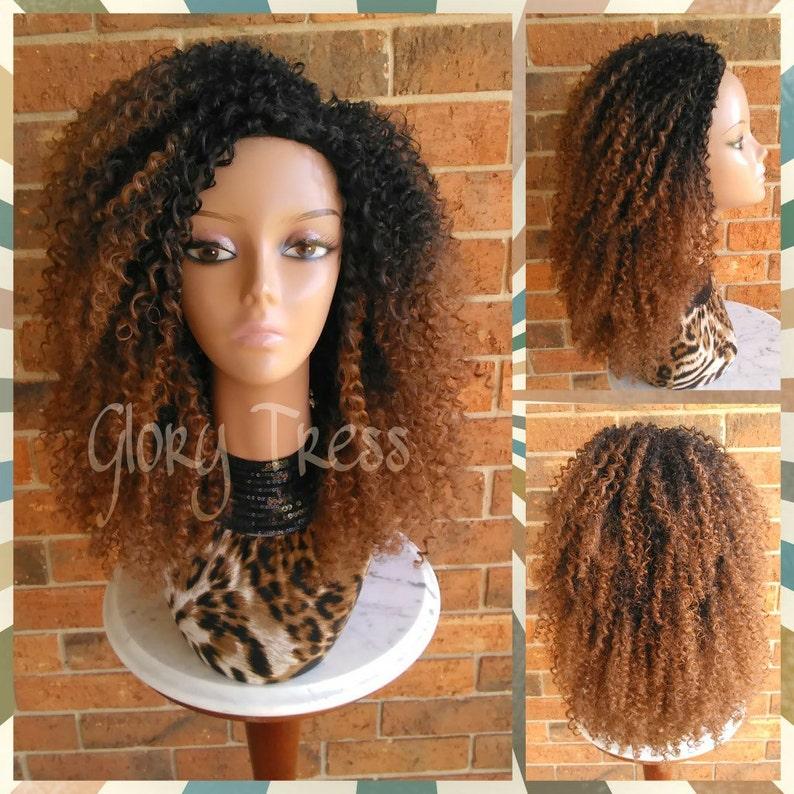 a9dfe0cc237 ON SALE    3C Kinky Curly Half Wig Ombre Auburn Wig Big