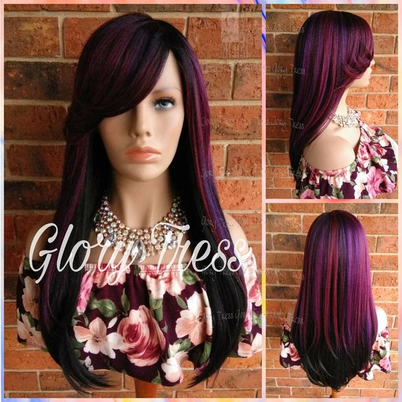 Ready To Ship Long Straight Full Wig Side Swoop Bangs Etsy