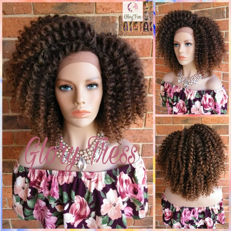 On Sale Kinky Curly Wig Crochet Curly Lace Front Wig Etsy