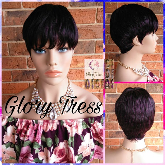 Ready To SHIP// Short Razor Cut Full Wig, Pixie Cut Hairstyle, 100% Remy  Human Hair Wig, Purple Black Wig // REVIVE