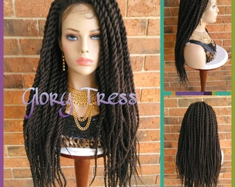 ON SALE// Senegalese Twists Braided Lace Front Wig, Long Hand-Braided Senegal Wig, African American Wig // BELOVED2 (Free Shipping)