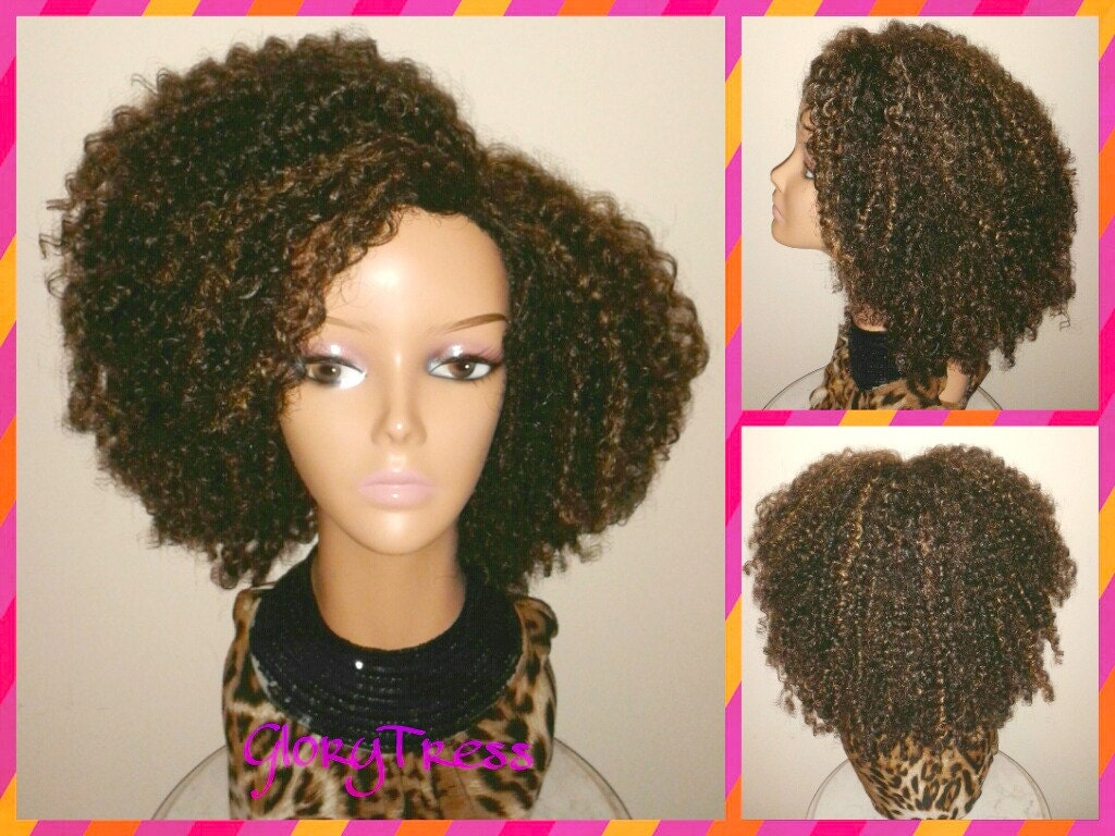 7e9a07ce009 ON SALE    Kinky Curly Wig Short Curly Half Wig Big Natural